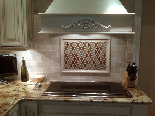 Kitchen Tile   Crackled Glass U0026 Tumbled Marble Backsplash