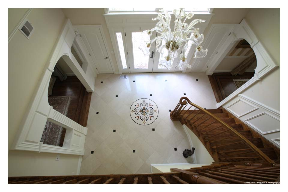 Entry Foyer With Custom Waterjet Medallion And Italian Unique Floor Tile  Designs